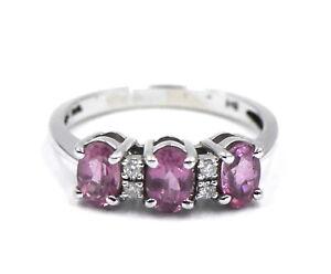 DESIGNER EFFY DIAMOND PINK THREE STONE BAND RING 14K WHITE GOLD SIGNED BH SIZE 7