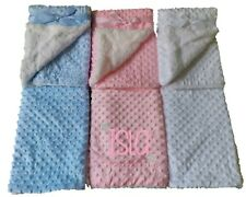 WHITE PINK BLUE THICK SHERPA PERSONALISED EMBROIDERED DIMPLE BABY BLANKET NAME