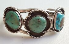 """Vintage Old Pawn Navajo Sterling Silver & 3 Stone Turquoise Cuff Bracelet 6 3/4"""""""