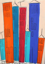 VINTAGE ABSTRACT PENCIL/WATERCOLOR PAINTING CITYSCAPE