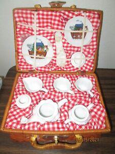 Delton Children's Glass Tea Set in Wicker Basket ~ 17 Pcs ~ NOAH'S ARK