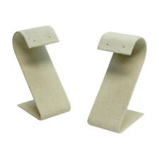 5pc 1 12 X 3 14 Curved Earring Display Stand Soft Linen Beige Jewelry Holder