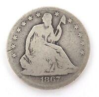 .1867S US SILVER HALF DOLLAR .