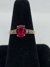 Vintage 10k Yellow Gold Beautiful Lab Ruby With 2 Small Diamonds Ring Size 7