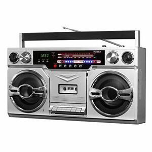 Victrola VBB-10-SLV 1980 Style Bluetooth Boombox Cassette Player Music FM Radio