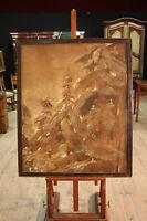 Dipinto spagnolo ad olio su tela quadro paesaggio stile antico alberi pini 900