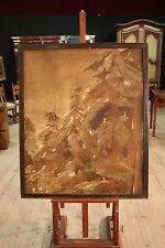 Dipinto spagnolo ad olio su tela quadro paesaggio alberi pini stile antico 900