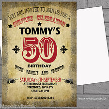 12 x Adult Birthday Party Invitations Vintage Style 30th 40th 50th 60th H0294