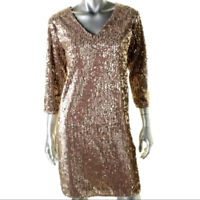 Alfani Size 12 NEW Neck Velvet Champagne Cava Sequin Dress Holiday Party
