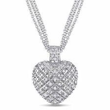 Amour Sterling Silver 1 Carat 1 CT TW Diamond Heart Pendant with Triple Chain