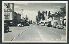 CA Bishop RPPC 1949 STREET SCENE Marie's Diner & Fountain THEATER Cars Frashers