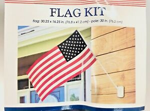 """NEW - American USA Flag Kit w/ Mounting Kit, 30.25"""" x  16.25"""" Flag & 30in Pole"""