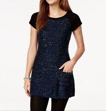New-Size M-Style & Co-Women Tunic Sweater-Cap-Sleeve Sequined-Indigo Blue-Pocket