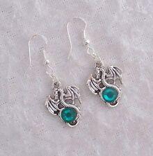 Tibetan Silver Dragon,Green Diamante Earrings,925 Silver Hook.Handmade