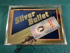 Vintage 1988 Coors Light Silver Bullet Lighted Bar Sign Mirror 19.5 X 14 Works!