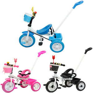 Kids Tricycle Trike Parent Handle Push Along Stroller Children 3 wheel Ride Bike