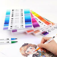 24/72 Dual Tip Brush Marker Pens Color Markers Set Water-base Colors