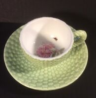 Marjolein Bastin Cup And Saucer Hallmark Basket Weave Green Flower And Bee