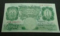 1939 £1 BANK NOTE 21K 505332 PEPPIATT BE45C aUNC