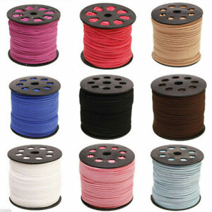DIY Leather Suede Cord 3mm Beading Thread Lace String Jewelry Making 90m/Roll