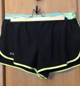 Under Armour Ladies Black Heat Gear Gym Running Shorts Size 14 (10US)