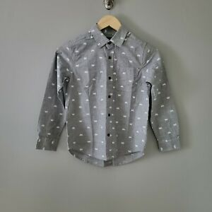 The Children's Place NWT Long Sleeve Gray Poplin Button-Up Shirt Boys' Size 7/8