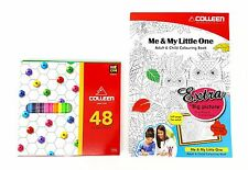 COLLEEN Colored Pencils 48 Colors W/ Neon Colors + Adult & Child Colouring Book