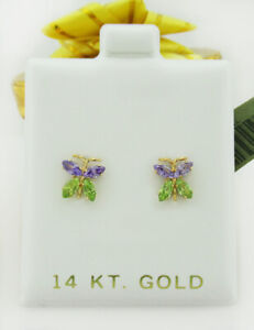 AMETHYST & PERIDOT STUD BUTTERFLY EARRINGS 14K GOLD * New With Tag *
