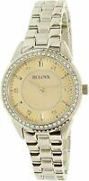 Bulova Women's Quartz Crystal Accents Silver Tone 30mm Watch 96L220