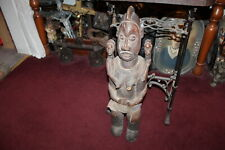 Antique African Tribal Wood Carving Statue Woman Holding Children Large Size