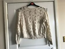 Ladies Cream Lace Front Long Sleeved Top - Size UK 10 - Atmosphere  - VGC