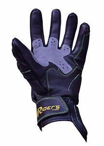RC Navigator 1, Vented Leather Motorbike Gloves, Motorcycle Gloves, Black/Grey