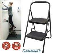 Foldable 2 Step Ladder Non Slip Tread Safety Steel Small Stool Ladders Kitchen