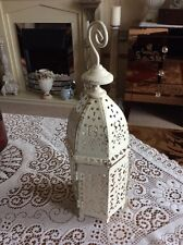 MOROCCAN STYLE CREAM AND BRUSHED GOLD SHABBY CHIC LANTERN TEA LIGHT HOLDER