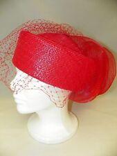 Women's Fancy Red Pillbox Hat, Net Veil & Bow Trim Unworn