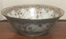 """Nippon 10"""" Bowl Gold Clad & Beaded & Enamel Jewels STUNNING EXCELLENT"""