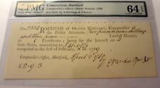 1789--OLIVER WOLCOTT-HARTFORD,CONN, COMPTROLL.OFFICE-PMG-64 EXCEPT PAPER QUALITY