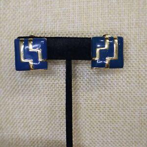 Vintage Signed Monet Blue Square Gold Tone Enamel Clip Earrings