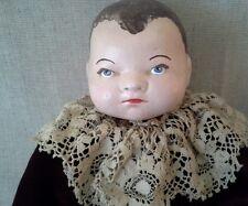 "Antique 1923 Grace Putnam 17"" Baby Doll   Velvet Dress with 3"" Lace Collar"
