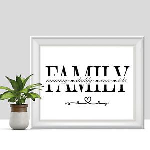 Personalised Family Print, Custom Poster, Housewarming Gift, Christmas Gift