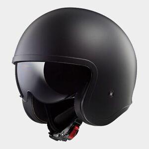 XL LS2 Spitfire Open Face Motorbike Helmet Matt Black with Sun Visor