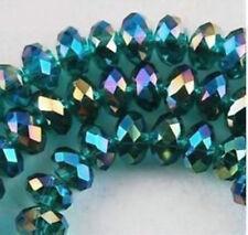 Hazlo TÚ MISMO Joyería Facetado 146 un. 3x4mm Pavo Real Verde Ab Cristal facetado granos flojos