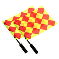 2 x Football Referee Linesman Flags World Cup Premier League + Pouch CHEQUERED
