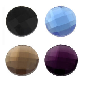 16mm Round Glass Checkerboard Foiled Flat Back Cabochon Pair
