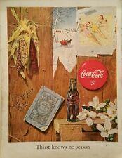1950 Coca-Cola soda glass bottle seasons farmers almanac corn cob dogwood  ad