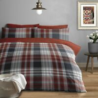 100% Brushed Cotton Modern Check Duvet Cover Set Double Bed in Grey & Red