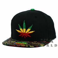 1eb13b74730d8 RASTA Marijuana hat cap Snapback Rastafari Reggae Flat bill Baseball cap-  Black