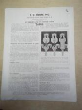 Vtg P.O Moore Inc Catalog Insert/Pages~Key Cabinets/Control System 1939