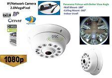 Indoor Panoramic View Fisheye IP Camera 1080P Dome 12IR P2P Onvif PoE/12VDC
