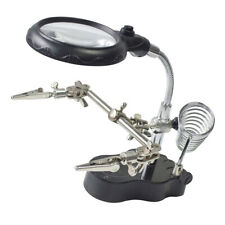 Helping Hand Magnifier Glass Stand 3x Magnifying Lensfor Solderingcrafting